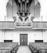 Orgelempore im Ostchor von St. Johannis seit dem Wiederaufbau (Zustand 1961), © Stadtarchiv Mainz, BPSF 13171 A