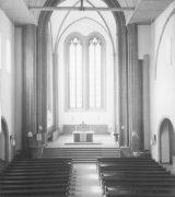 Innenraum von St. Johannis seit dem Wiederaufbau (Zustand 1961); Stadtarchiv Mainz, BPSF 13170 A