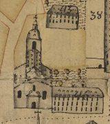 St Johannis mit seiner barocken Ostfassade auf einem Stadtplan von 1753;  Stadtarchiv Mainz BPSP 208 D