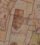 Schwedenplan von 1625, Ausschnitt St. Johannis mit einem Altar im Osten und einem im Westen; Stadtarchiv Mainz BPSP 55 D