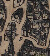 St. Johannis auf einem Merianstich von 1633 mit gotischem Westchor und spitz zulaufender Turmhaube; Stadtarchiv Mainz BPSP 71 B