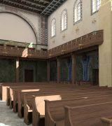 1906: Evangelische Gemeindekirche, Architekt Friedrich Pützer. Blick nach Osten  © 2018 Architectura Virtualis GmbH Kooperationspartner der Technischen Universität Darmstadt